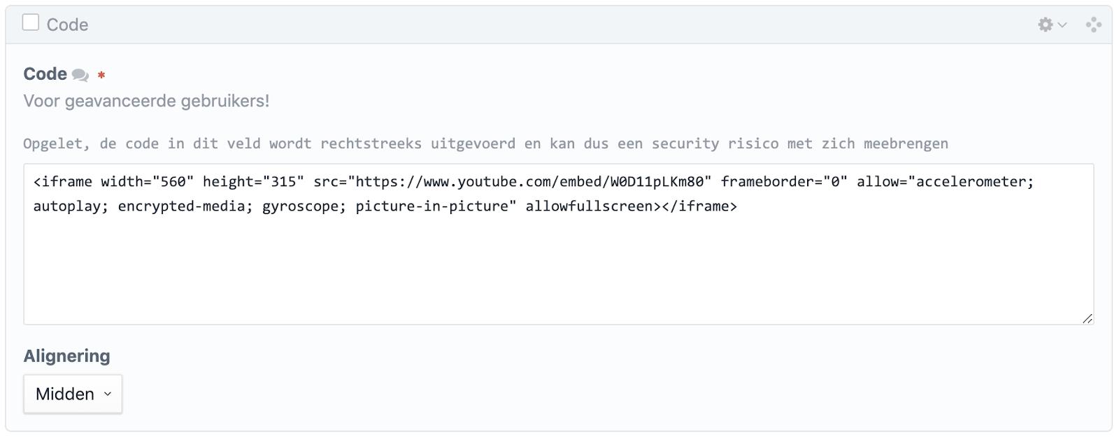 Contentbuilder: een code block invoegen