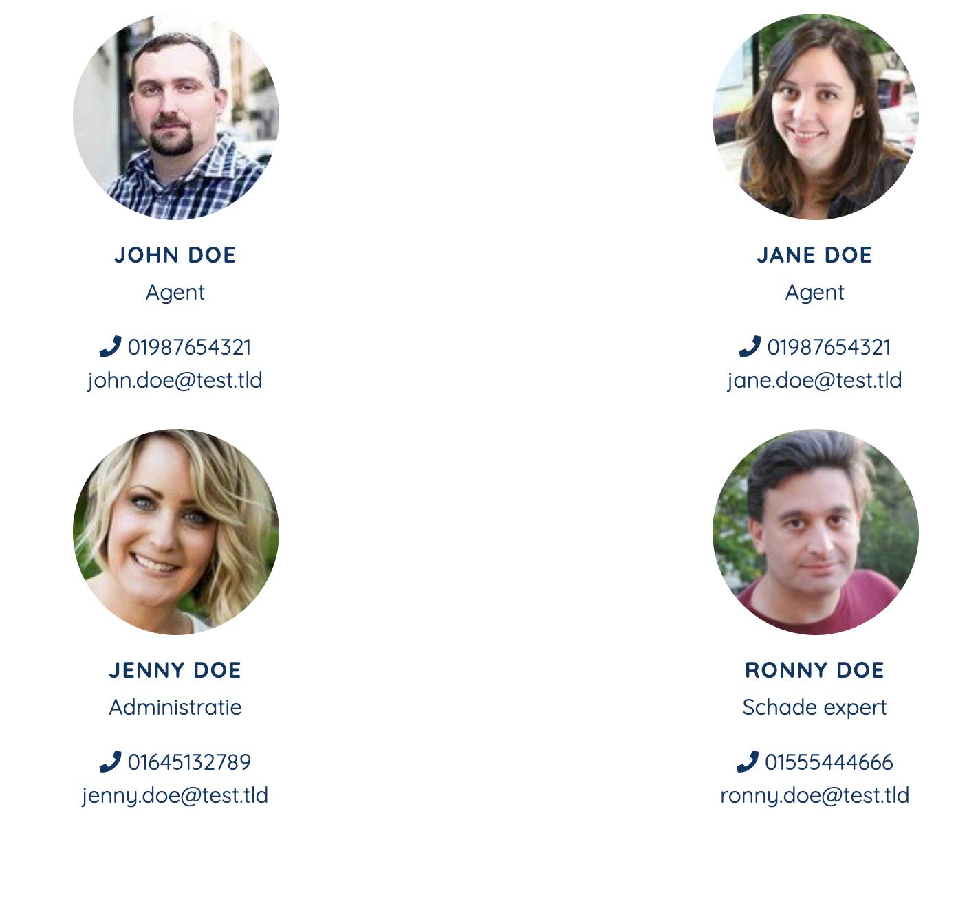 Voorbeeld van een Team blok in de website