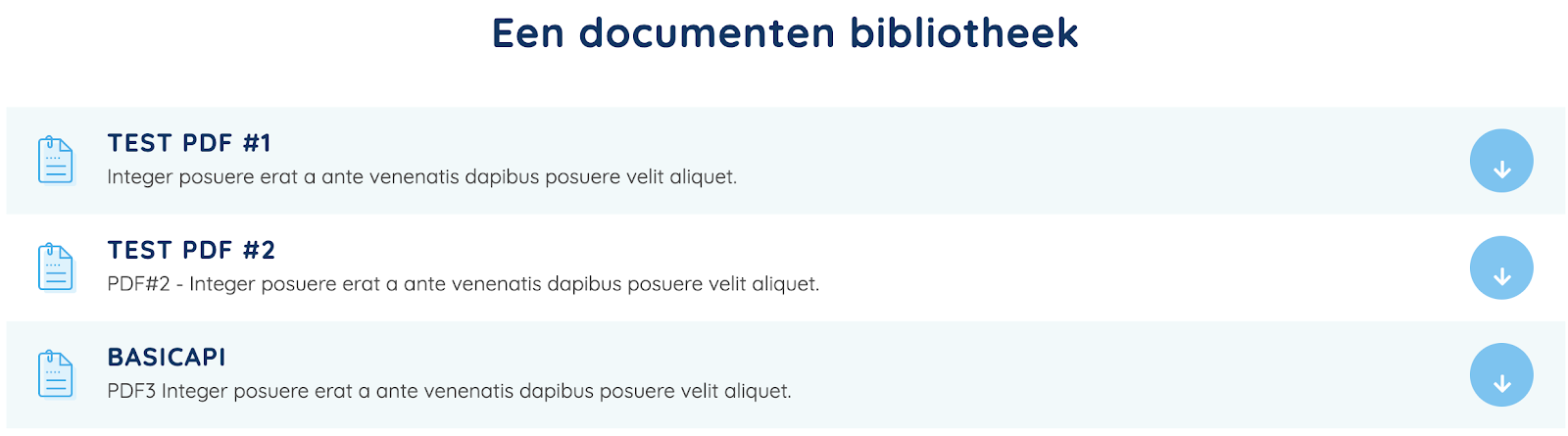 Voorbeeld documenten bibliotheek in de website