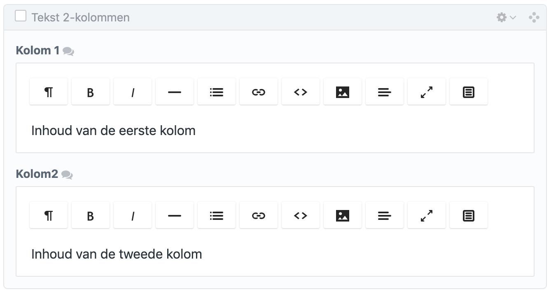 Contentbuilder: tekst met 2 kolommen